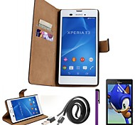 Genuine Leather Case with Screen Protectors,Cable and Stylus for Sony Xperia T3 M50W
