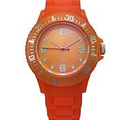 caja de plástico analógico reloj de los hombres banda de silicio dial redondo reloj de cuarzo de los hombres de la moda del reloj de los hombres del