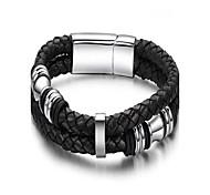 pulsera estilo fresco de cuero negro de la aleación de los hombres de moda (1 unidad)