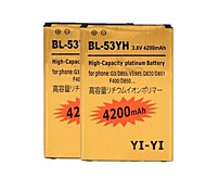 2PCS YI-YI™ Replacement Decoded High-Capacity 4200mAh Li-ion Battery for LG G3 / BL-53YH / D855 / VS985 / D830 / D851