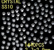 1440pcs 2.7-2.9mm brillo blanco cristalino del rhinestone flatback decoración del arte del clavo