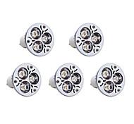3W GU10 Lâmpadas de Foco de LED 3 LED de Alta Potência 300 lm Branco Quente AC 85-265 V 5 pçs
