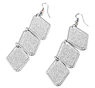 Fashion Blink Prismatic Dull Polish Multicolor Alloy Drop Earrings(1 Pair)(Silver,Black and White)
