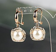 Mode runde Perle Zirkon Gold Ohrentropfen (1 Paar)
