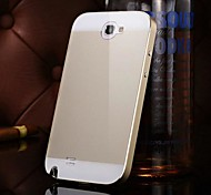 KX Brand Metal Frame Acrylic Mirror Backplane Metal Hard Case for Samsung Galaxy Note 2 N7100