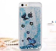 Fashion Transparent Glitter Sand Bling Quicksand Butterfly Pattern Case Cover for iPhone 4/4S(Assorted Colors)