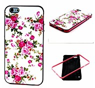 2-in-1 Pink Rose Peony Pattern TPU Back Cover with PC Bumper Shockproof Soft Case for Apple iPhone 6 Plus