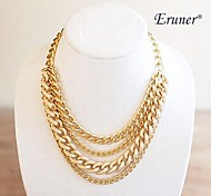 Eruner® Shiny Light Gold Chunky Curb Chain Necklace