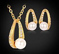 chapado en oro 18k u7® lujo aretes collar colgante de diamantes de imitación austriaco perla simulada de la joyería de moda