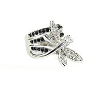 2014 New Arrivals Silver Plated Shining Rhinestone Dragonfly Fashion Ring