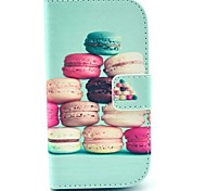 Colorful Cake Pattern PU Leather Case with Card Slot and Stand for Samsung Galaxy S3 mini I8190