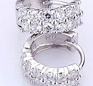 925 Sterling Silver Double Row Diamond Allergy Free Earrings