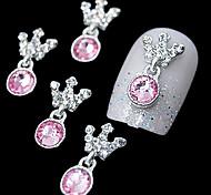 10pcs   Pink Rhinestone Pendant Crown 3D DIY Alloy Accessories Nail Art Decoration