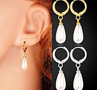 U7® New 18K Real Gold / Platinum Plated Cute White Pearl Beads Dangle Earrings