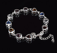 Xu™ Women's Color Diamonds 925 Silver-Plated Charm Bracelets