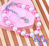 Diy Fashion Rhinestone Pendant Necklaces Pearl Collars for Pet Dogs and Cats