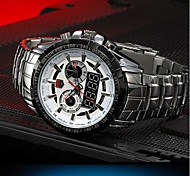 multifuncional 2 fusos horários relógio esportivo resistentes 50m água banda de aço inoxidável de pulso dos homens (cores sortidas)