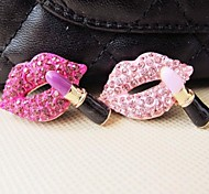 1PCS Embedded Lip Alloy Accessories Embedded Rhinestone Handmade DIY Craft Material(Assorted Color)
