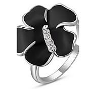 Frauen roxi exquisite Rosen goldene überzogene schwarze Rose Aussage Ringe (1 Stück)