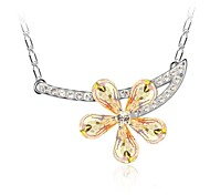 Lady Flower Short Necklace Plated with 18K True Platinum Mixed Colors Crystallized Austrian Crystal Rhinestone