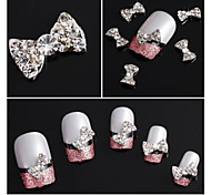 10pcs Glitter Rhinestone Bow Tie Alloy Accessories Nail Art Decoration