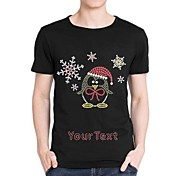 Personalized Rhinestone T-shirts Snowflake and Penguin Pattern Men's Cotton Short Sleeves
