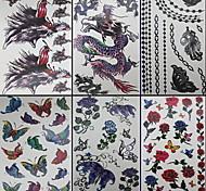 6 pièces papillon et tatouage de dragon mixtes temporaires