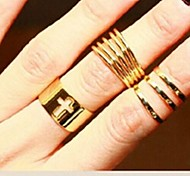 Fashion Gold Hollow Out Alloy Rings 3pcs #9-1
