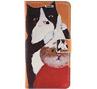 estojo de couro pu cabelo gatos corte padrão com slot para cartão de suporte e para o iPhone 6 Plus