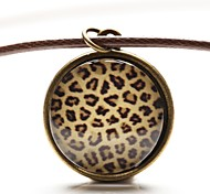 Time Gem Art Glass Cabochon Leopard Animal Print Necklace (1 Piece)