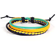 Fashion Adjustable Men's Leather Bracelet Very Cool Green Orange Black,Yellow and Blue Twist Leather (1 Piece)