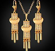 18k macramé u7® oro verdadero plateado cristal rhinestone collares colgantes cuelgan los pendientes de la joyería de