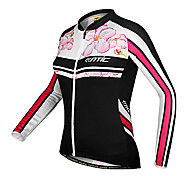 SANTIC-Women's Cycling Jersey Long Sleeve 100% Polyester Floral Pattern - Pink and Black