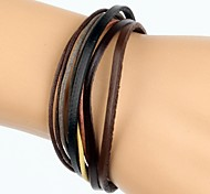 Multi Layers Men's Leather Wrap Bracelet With Yellow Gray Rope (1 Piece)