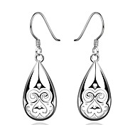 Concise Silver Plated Face Pattern Style Waterdrop Earrings for Party Women Jewelry Accessiories