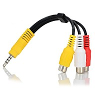 3.5mm Plug to 3-RCA Female AV Adapter Cable - Black + Yellow + White + Red (16cm)