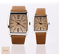 Personalized Gift New Style Couple's Brown Case PU  LeatherBand Quartz Analog Wrist Engraved Watch