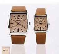 caso marrom presente novo do casal personalizado estilo pu leatherband quartzo analógico relógio de pulso gravado