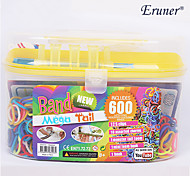 BaoGuang®Rainbow Color Loom Random Color Bands Set(600Pcs Bands,1Pag Clips,2 Hook,1 Loom)