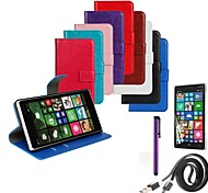 Solid Color PU Leather Case with Screen Protector and Data Line and Stylus for Nokia Lumia 830 (Assorted Colors)
