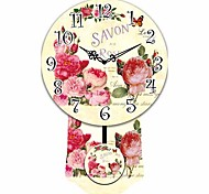 Retro Rose Pattern Wooden Round Wall Clock
