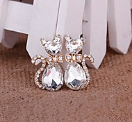 1 Pair Cat Alloy Accessories Embedded Rhinestone Handmade DIY Craft Material