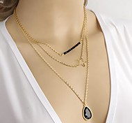 Fashion Star And Black Stone Golden Alloy Pendant Necklace(1Pc)