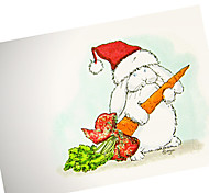 Cute Hand Painted Christmas Hat Rabbit Card