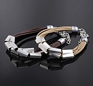 Ms Fashion Multi-layer Plating Silver Leather Bracelet Exquisite Gift