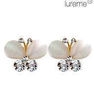 Lureme®Fashion Butterfly Shape Pearl & Crystal Earrings (Assorted Colors)