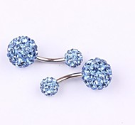 Stainless Steel CZ Crystal Ball Body Piercing Navel Belly Button Ring Girl Ear Stud CF049 Jewelry