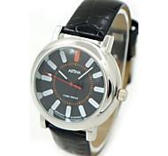 cadran rond montre-bracelet à quartz PU bande de femmes