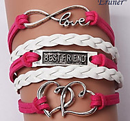 leather Charm BraceletsMultilayer Double Heart Alloy Charms Handmade Leather Bracelets inspirational bracelets Jewelry