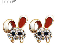 Lureme®Cute Rabbit Gold Plated Alloy Earrings